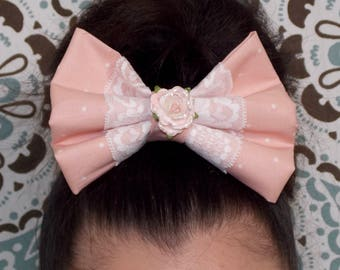 Pastel Lace Rose Bow