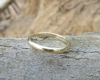 unisex wedding band, half round profile ring, solid 14K gold ring, classic wedding band for men and women