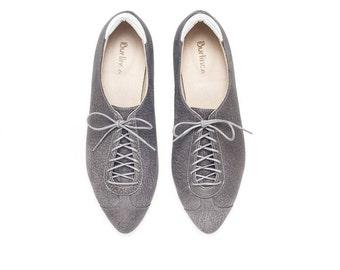 Sale 35% off! Oxford shoes, women shoes, flat shoes, oxford shoes, gray shoes, handmade leather shoes by Burlinca.. Alexander model