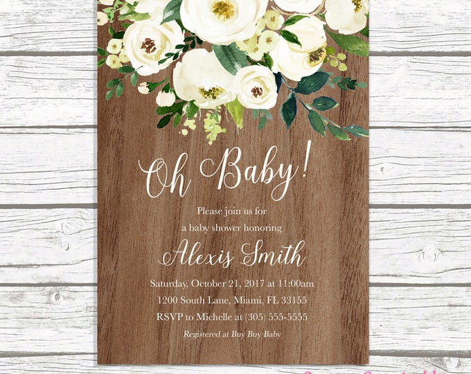 Oh Baby Baby Shower Brunch Invitation, Gender Neutral Baby Shower Invitation, Rustic Wood Baby Shower Invitation, Garden Baby Shower Invite