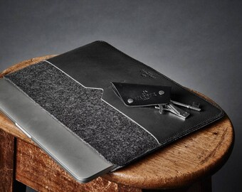 """MacBook Air 11"""" Leather Case, Laptop Sleeve Cover with front leather pocket Handmade"""