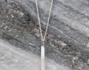 Silver Vertical Bar Necklace