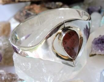 Sterling Silver Cuff Bracelet Jasper Solid
