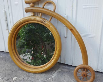 Wicker rattan bicycle mirror