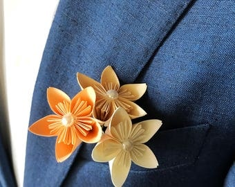 Origami wedding boutonniere, Origami flowers, Kusudama flowers, Origami boutonniere, Paper boutonniere