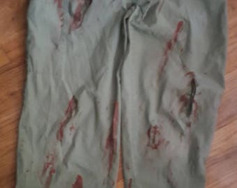 Gory Zombie Doctor ScrubBottoms Costume SMALL OOAK Hand Painted