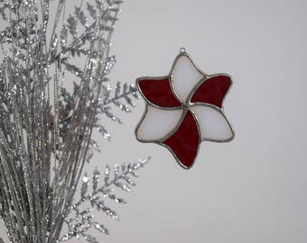Star Ornament, Striped Ornament, Glass Star Sun Catcher, Glass Star Decoration Candy Cane Star Glass Keepsake Ornament Made In USA