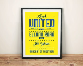 Leeds United Poster; Typographic football team poster print