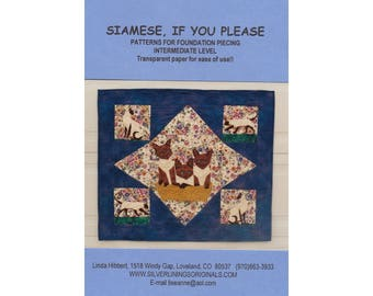 Pattern- Siamese, If You Please paper pieced wall quilt pattern by Linda Hibbert, paper piecing, cats foundation piecing patter