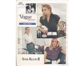 Vogue 2069 Sewing Pattern, Anne Klein II, Misses Blouses in 3 variations, US Misses Sizes 12-14-16, uncut factory-folded