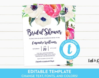 Templett Bridal Shower Invitation - Floral Shower Invitation - Printable Invitation - Bridal Shower Invitation Template - Digital Invitation