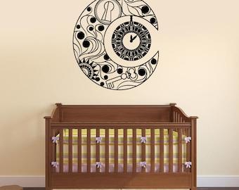 Crescent Vinyl Wall Decal Clock Bedroom Decor Home Interior Stickers Mural (#2730di)