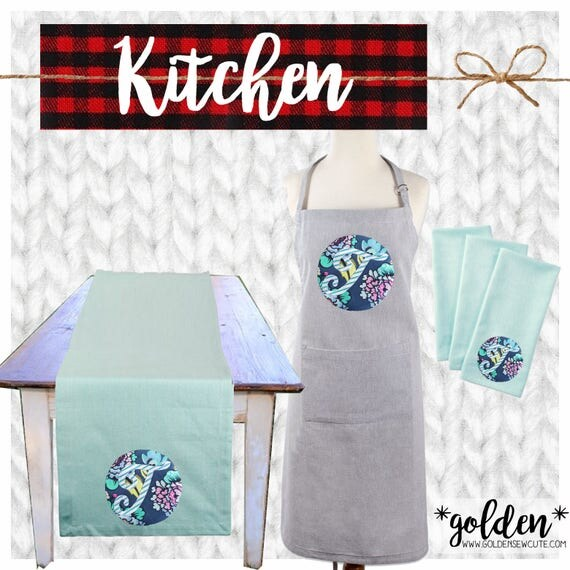 CYBER MONDAY 2017 SALE!  Applique Adult Apron, Dish Towels, Table Runner, Chef, Cook, Baker, Kitchen Gift, Custom, Personalized, Initial