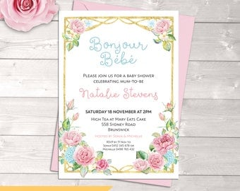 Baby shower invitation, French bonjour bebe, French baby shower, roses, gold, pink & blue, boy or girl, neutral, twins, digital printable