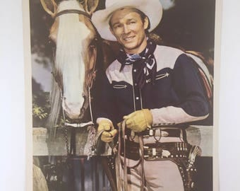 Roy Rogers, King of the Cowboys, Trigger, Vintage 1950s Matte Photo, 8 by 10, Republic Pictures Western, Smartest Horse in the Movies