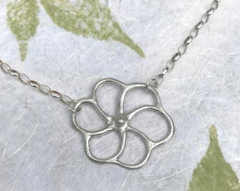 Fun Nature Jewelry | Silver Flower Necklace | Garden Jewelry | Botanical Jewelry | Flower Jewelry | Metal Clay Jewelry | Spring