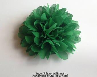 "Peony Chiffon Flower 4.5"" | Green | Hair Clips for Girls | Toddler Barrette | Kids Hair Accessories | Grosgrain Ribbon | No Slip Grip"