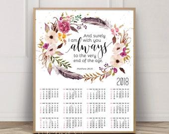 2018 Scripture Calendar 13 Month Bible Verse Calendar