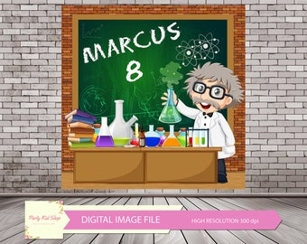 Mad Scientist Backdrop, Mad Scientist Party, Scientist Party, Mad Science Party, Crazy Scientist, Mad Science Birthday *DIGITAL IMAGE FILE*