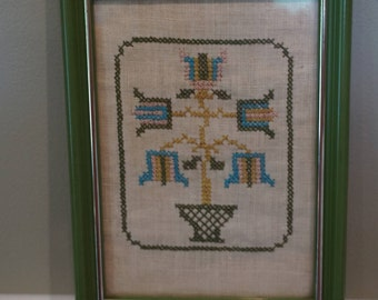 Small Cross Stitch in a Green Frame/ Sampler/ Folk Art/ Pennsylvania Dutch Tulip Design