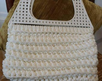Large Vintage Macrame Purse with White Plastic Wicker Handle/ Summer Purse/ Handmade Purse/ Retro Fashion