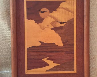 Vintage Marquetry Picture--Mid Century Wood Inlay Marquetry--Marquetry Landscape Picture