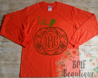 Aztec Pumpkin Monogram Shirt, Pumpkin Monogram Shirt, Fall Monogram Shirt, Autumn Monogram Shirt, Halloween Monogram Shirt