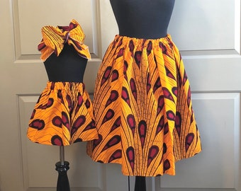 Yellow Orange African Drops Mommy and Me Ankara Skirts, Mothers Day, Head Wraps, Ladies Skirt, Girls Skirt, African Clothing, Girls Clothing