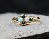 Antique Edwardian 18ct Gold Sapphire And Opal Ring