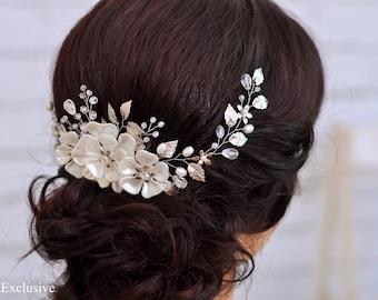 Bridal hair clip Wedding hair comb Bridesmaid hair comb Silver leaf elegant comb Wedding headpiece Wedding comb Bridal comb Crystal comb