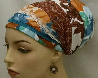 Stylish silky cotton voile and lace sinar tichel, tichels, chemo scarves, head scarves, apron tichels