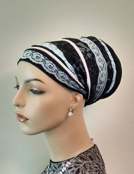 Dressy blue and black lace sinar tichel, tichels, head scarves, chemo scarves, hair snoods