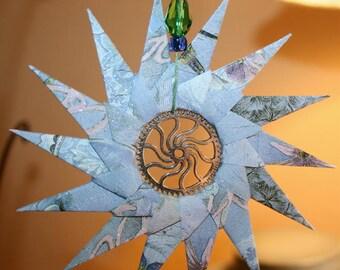 Origami Victorian Purple Steampunk Spiral Hanging Ornament