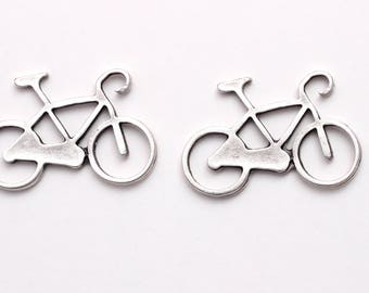 2 pcs Silver Plated Bicycle Pendant, Big Bicycle Pendant, Bike Pendant, Sport Charms, Vintage Pendant, Bicycle Pendant, Jewelry Making