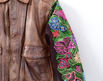 Vintage Leather Jacket with Embroidered Sleeves Mexican Leather Jacket