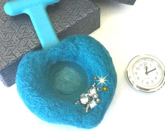 Turquoise Felted Watch Brooch, Beaded Watch Brooch, Turquoise Heart Brooch, Boxed Watch Brooch, Sweetheart Unique and Cherished Gift