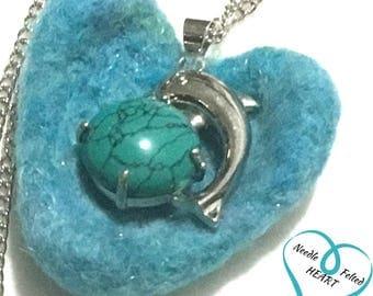 Deep Jade Dolphin Pendant, Needle Felted Heart Pendant, Designer Hand Crafted Gift, Jade Heart Pendant, Unique Original Hand Crafted Gift