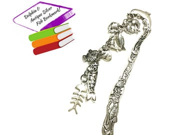 Antique Silver Bookmark, Teachers Xmas Gift, Dolphin and Fish Themed Bookmark, Book Lovers Gift, Fish Charms Bookmark, Free Local Shipping
