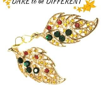 Stunning Big Leaf Earrings, Multi Coloured Gold Earrings, On Trend Gift, Red Carpet Earrings, Girlfriend Gift, Anytime Gift,Earrigs OTT