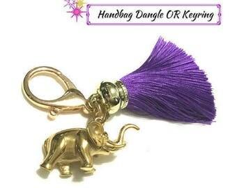 Elephant Charm Keyring, Purple Tassel Key Ring, Gold Elephant Keyring, Unique Friendship Gift, Good Luck Elephant Charm Bag Dangle