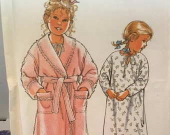 Retro 1991 Simplicity 7524 childrens robe and nightgown- size 3-8 uncut- great pattern for Christmas- Birthdays- special gifts for a child