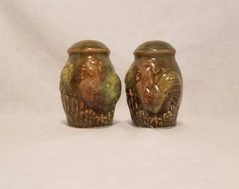SALT & PEPPER SHAKERS Ceramic Rooster Chicken Green Brown Sunflower Kitchen Vintage Retro Rustic
