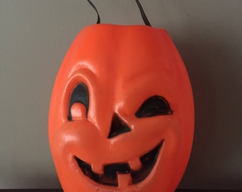 Vintage Halloween treat bucket.  Cute blow mold light weight bucket to tote all the loot.