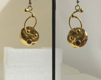 Gold plated brass lever back earrings with amethyst stones