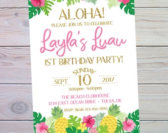 Luau Birthday Invitation   Luau Invitation   Luau Party   Pool Party   Pineapple Party   Tropical Party   Beach Party   The Party Darling