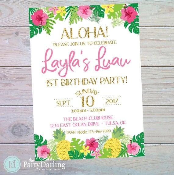 Luau Birthday Invitation Luau Invitation Luau Party Pool Party