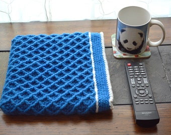 Crochet Tablet Case with Diamonds: iPad case, tablet cover, iPad sleeve, zipper pouch, padded tablet case. Gift for her, for wife.