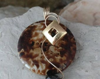 Slide for omega,one of a kind,large pendant,modern design,wire wrapped,earth tone jewelry,gold pendant,brown pendant,geometric pendant.