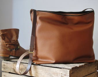 Toffee leather tote bag, large leather bag, leather shopper, leather purse, leather handbag