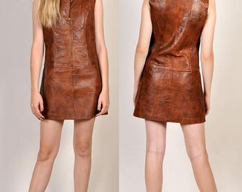 vintage Mod 1960's leather mini dress      H4